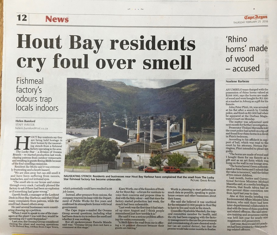 Hout Bay residents cry foul over smell Oceana Fishmeal factory's odours trap locals indoors Cape Argus Lucky Star