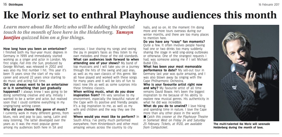 district mail 16.2.17 Ike Moriz Playhouse Theatre Love Swings show sextet jazz band swing theatre show