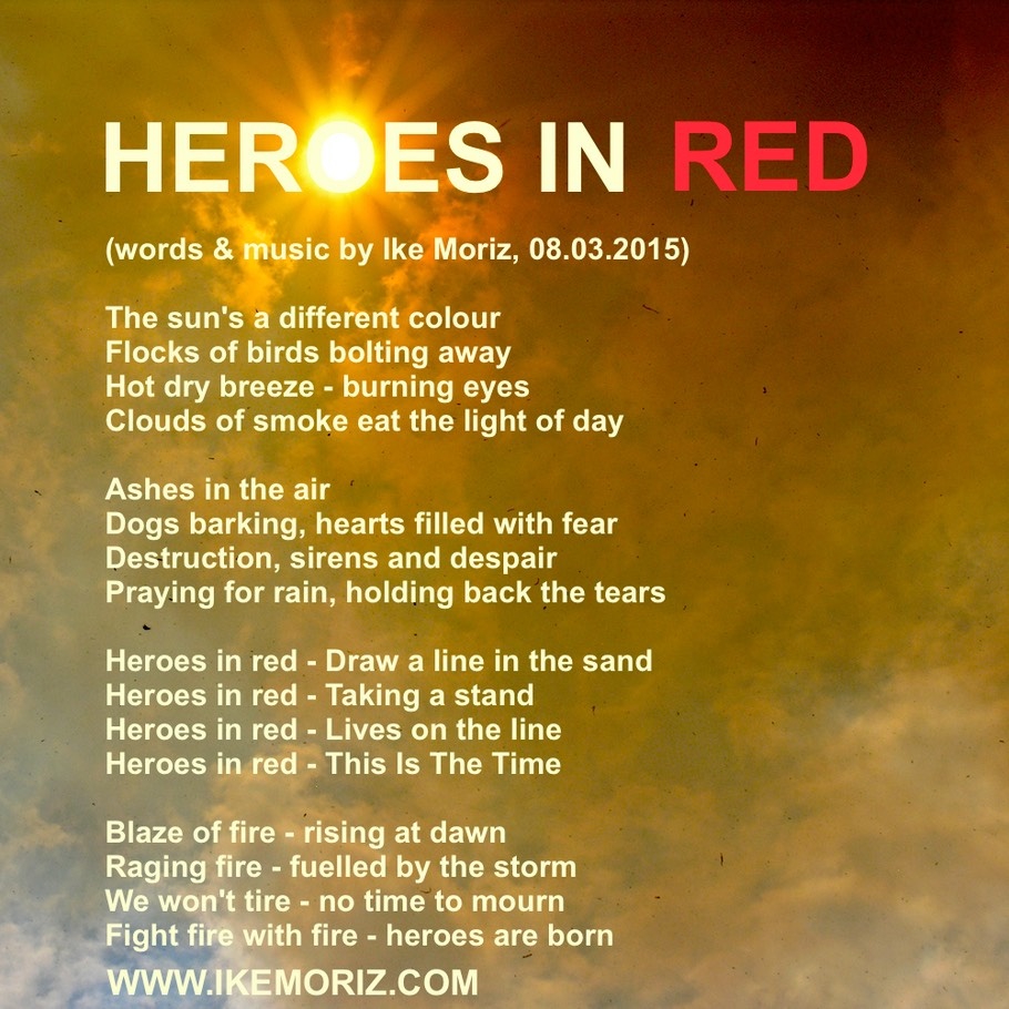 HEROES IN RED lyrics pic Ike Moriz VWS anthem volunteer wildfire services Cape Town fire fighter