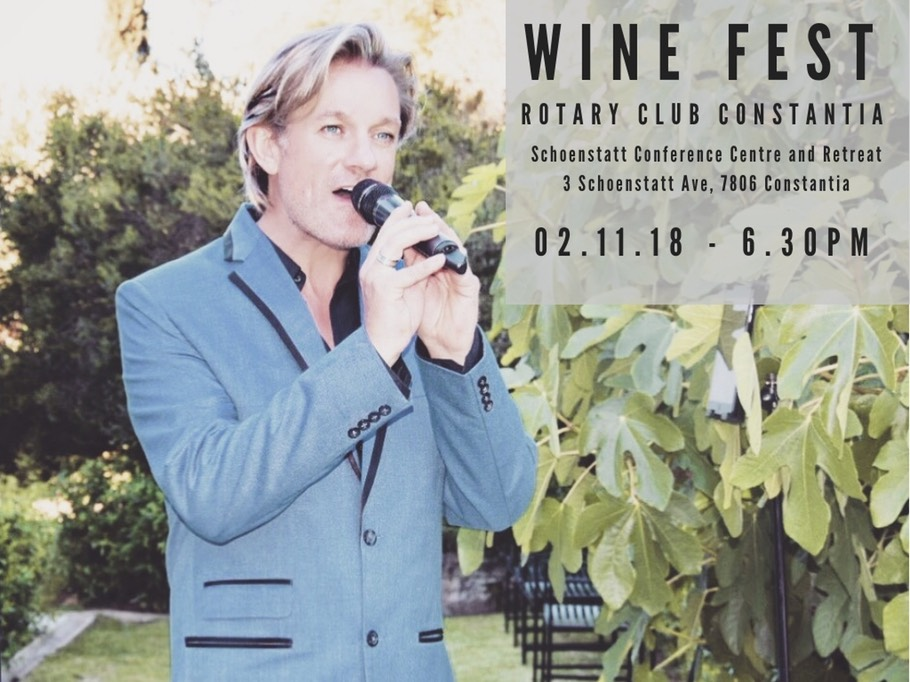 Ike Moriz Constantia Rotary Club 2018 Wine fest charity auction Schoenstatt Conference centre and retreat Cape Town South Africa swing entertainment jazz pop crooner November live music ikemoriz.com