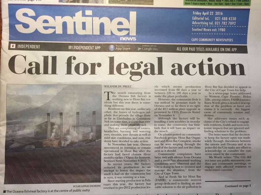 Call for legal action Hout Bay residents called to document impact of door pollution by Oceana fishmeal factory