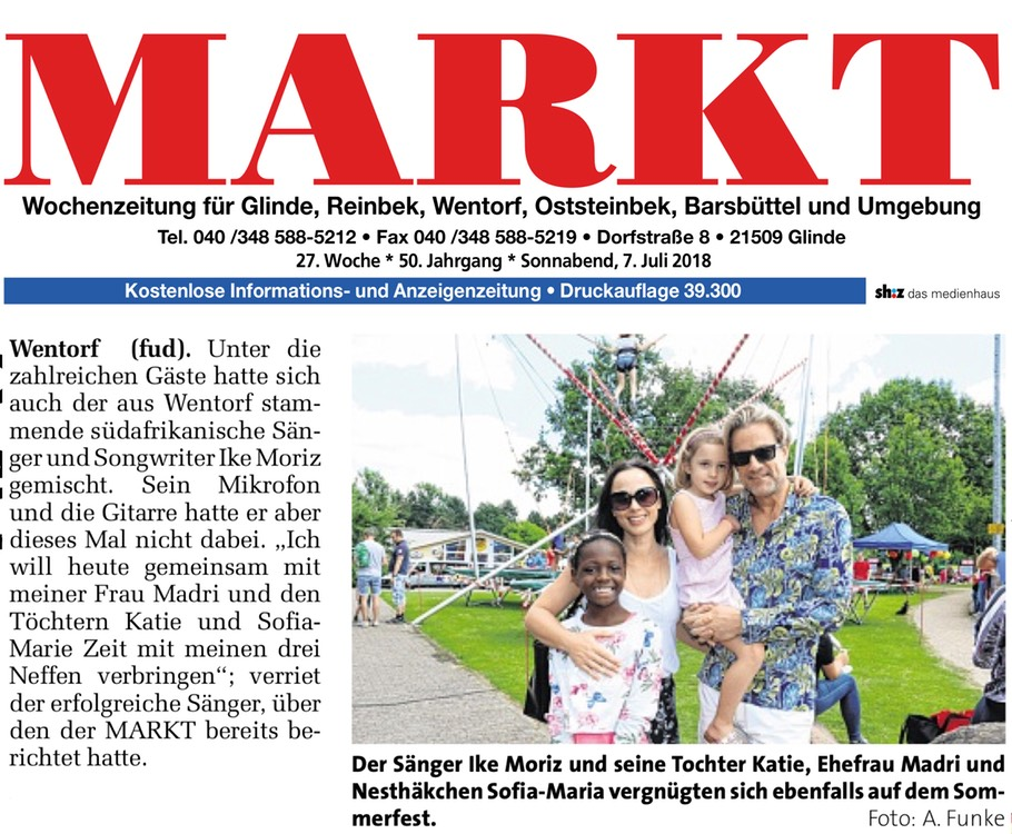 Mart weekly newspaper Wentorf Glinder Zeitung Ike Moriz Madri le Roux Kateline Katie Swanepoel Sofia Marie Moriz summer festival SC Wentorf microphone singer South African daughter wife news